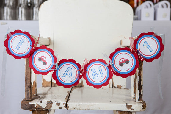 Cars I am 1 Mini Banner - Birthday Party - Red & Blue - Get The Party Started