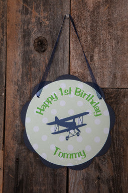 Airplane Vintage Door Sign Birthday Party - Navy & Green - Get The Party Started