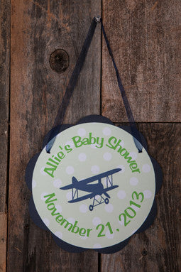 Airplane Vintage Door Sign Baby Shower - Navy & Green - Get The Party Started