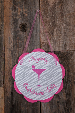 Lingerie Bachelorette Door Sign - Hot Pink & Zebra - Get The Party Started