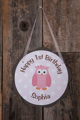 Owl Door Sign Birthday Party - Pink & Brown - Get The Party Started