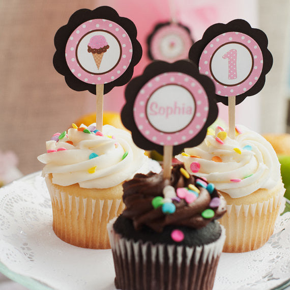 Ice Cream Cupcake Toppers Birthday Party - Pink & Brown - Get The Party Started