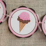 Ice Cream Happy Birthday Banner Large - Pink & Brown - Get The Party Started
