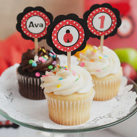 Ladybug Cupcake Toppers Birthday Party - Red & Black - Get The Party Started