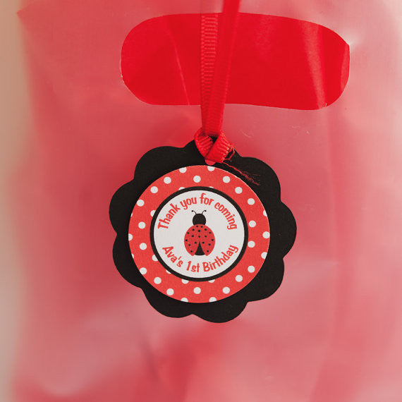 Ladybug Favor Tags Birthday Party - Red & Black - Get The Party Started