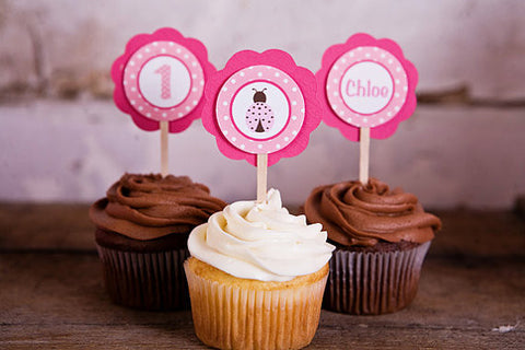 Ladybug Cupcake Toppers Birthday Party - Hot Pink & Light Pink - Get The Party Started