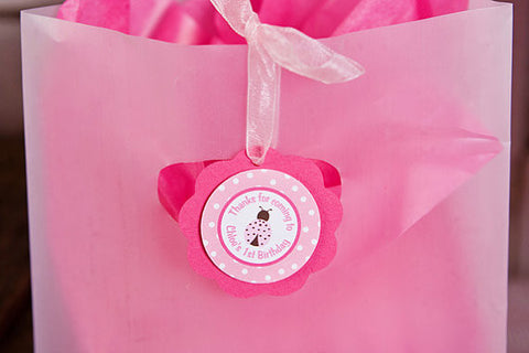 Ladybug Favor Tags Birthday Party - Hot Pink & Light Pink - Get The Party Started