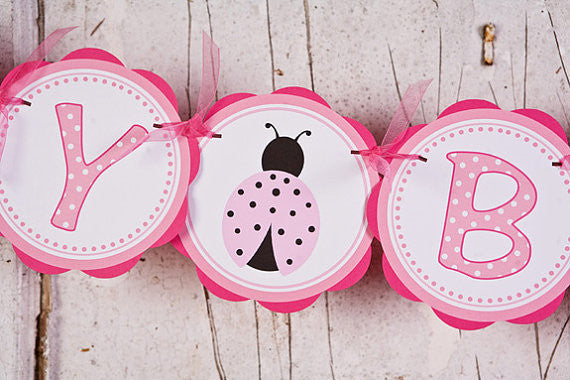 Ladybug Happy Birthday Banner - Hot Pink & Light Pink - Get The Party Started