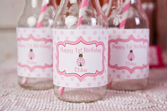 Ladybug Water Bottle Labels Birthday Party - Hot Pink & Light Pink - Get The Party Started