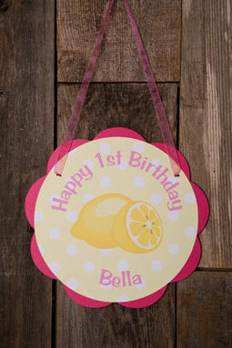 Lemonade Door Sign Birthday Party - Hot Pink & Yellow - Get The Party Started