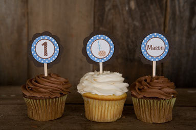 Milk & Cookies Cupcake Toppers Birthday Party - Blue & Brown - Get The Party Started