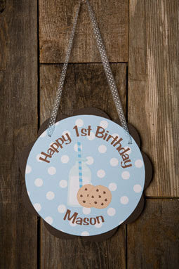 Milk & Cookies Door Sign Birthday Party - Blue & Brown - Get The Party Started