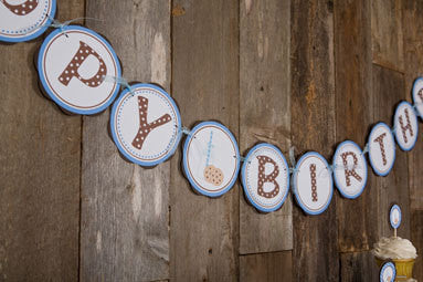 Milk & Cookies Happy Birthday Banner Large - Blue & Brown - Get The Party Started