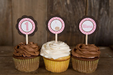 Milk & Cookies Cupcake Toppers Birthday Party - Pink & Brown - Get The Party Started