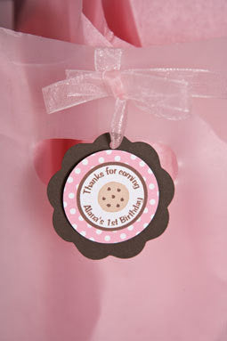 Milk & Cookies Favor Tags Birthday Party - Pink & Brown - Get The Party Started