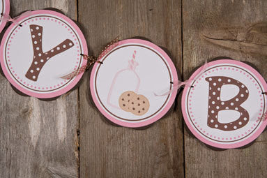 Milk & Cookies Happy Birthday Banner - Pink & Brown - Get The Party Started