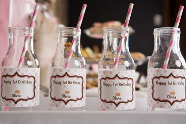 Milk & Cookies Water Bottle Labels Birthday Party - Pink & Brown - Get The Party Started