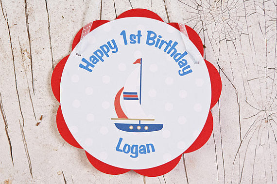 Sailboat Door Sign Nautical Birthday Party - Red & Blue - Get The Party Started