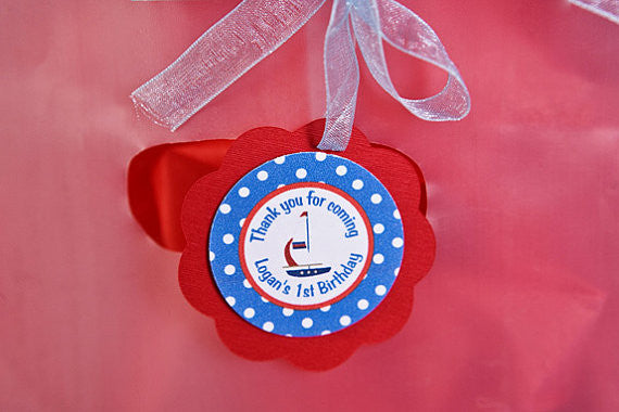 Sailboat Favor Tags Nautical Birthday Party - Red & Blue - Get The Party Started