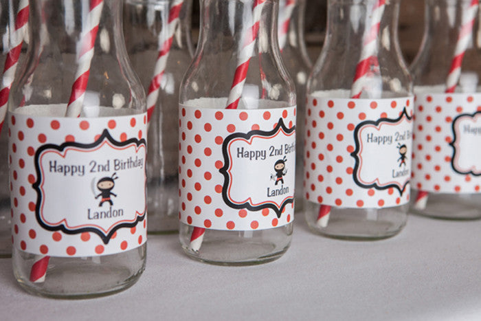 Ninja Water Bottle Labels Birthday - Red & Black - Get The Party Started