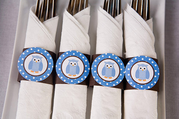 Owl Napkin Rings Birthday Party - Blue & Brown - Get The Party Started