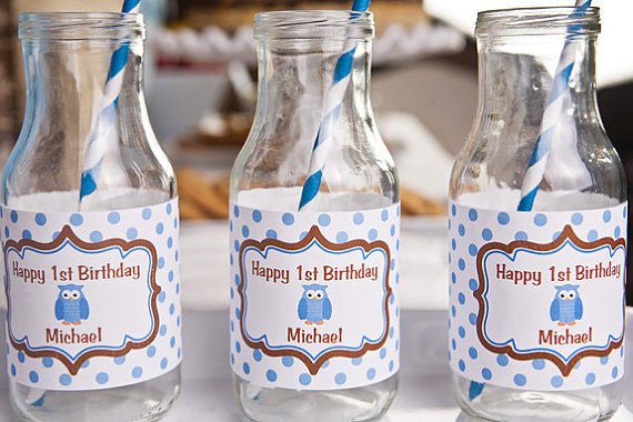 Owl Water Bottle Labels Birthday Party - Blue & Brown - Get The Party Started
