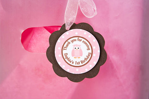 Owl Favor Tags Birthday Party - Pink & Brown - Get The Party Started