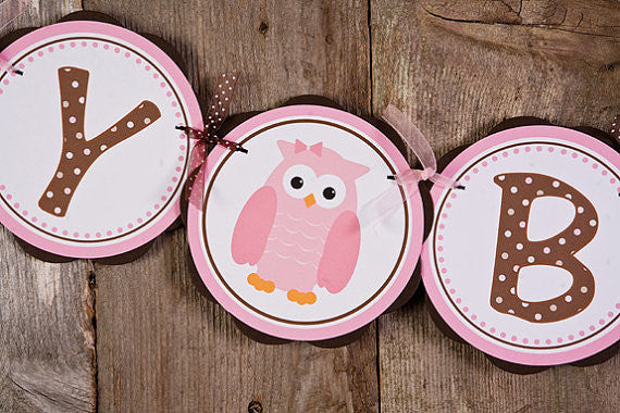 Owl Happy Birthday Banner Party - Pink & Brown - Get The Party Started