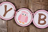 Owl Happy Birthday Banner Large - Pink & Brown - Get The Party Started