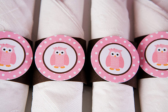 Owl Napkin Rings Birthday Party - Pink & Brown - Get The Party Started