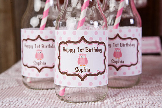 Owl Water Bottle Labels Birthday Party - Pink & Brown - Get The Party Started