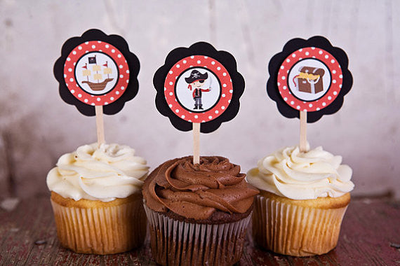 Pirate Cupcake Toppers Birthday Party - Get The Party Started