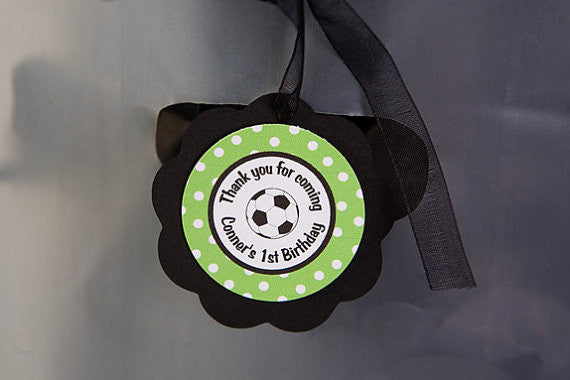 Soccer Favor Tags Birthday Party - Green & Black - Get The Party Started