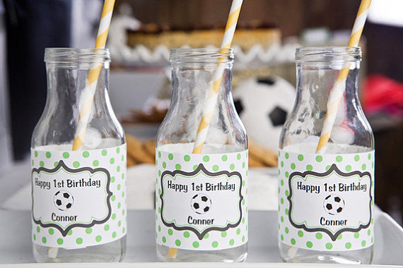 Soccer Water Bottle Labels Birthday Party - Green & Black - Get The Party Started