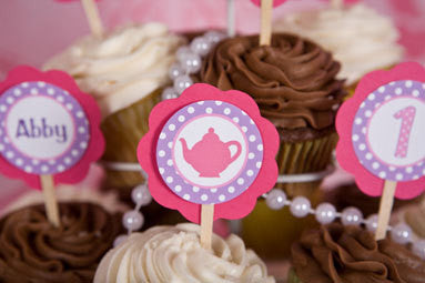 Tea Party Cupcake Toppers Birthday Party - Hot Pink & Purple - Get The Party Started