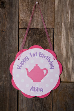 Tea Party Door Sign Birthday Party - Hot Pink & Purple - Get The Party Started