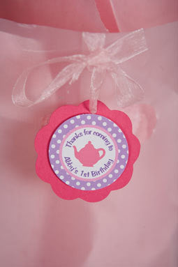 Tea Party Favor Tags Birthday Party - Hot Pink & Purple - Get The Party Started