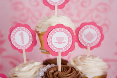 Tea Party Cupcake Toppers Birthday Party - Light Pink & Hot Pink - Get The Party Started
