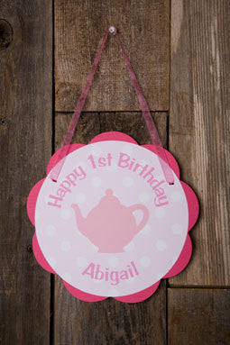 Tea Party Door Sign Birthday Party - Hot Pink & Light Pink - Get The Party Started