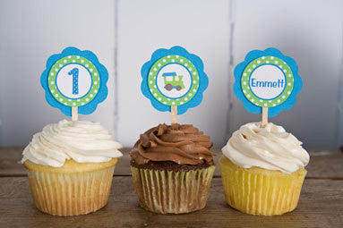 Train Cupcake Toppers Birthday Party - Aqua Blue & Green - Get The Party Started