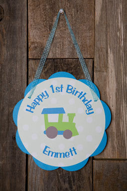 Train Door Sign Birthday Party - Aqua Blue & Green - Get The Party Started