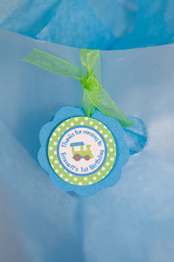 Train Favor Tags Birthday Party - Aqua Blue & Green - Get The Party Started