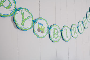Train Happy Birthday Banner Large - Aqua Blue & Green - Get The Party Started