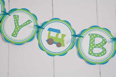 Train Happy Birthday Banner - Aqua Blue & Green - Get The Party Started