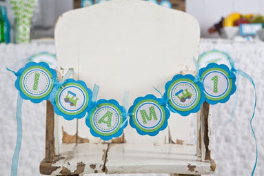 Train I Am 1 Mini Banner Birthday Party - Aqua Blue & Green - Get The Party Started