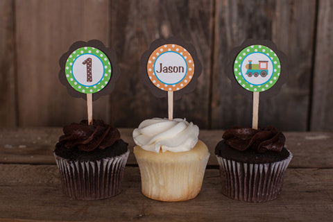 Train Cupcake Toppers Birthday - Green, Orange, & Brown - Get The Party Started