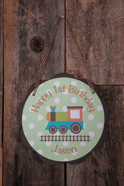 Train Door Sign Birthday - Green, Orange, & Brown - Get The Party Started
