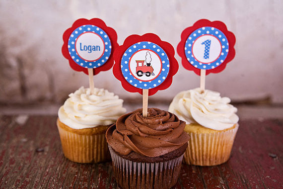 Train Cupcake Toppers Birthday Party - Red & Blue - Get The Party Started