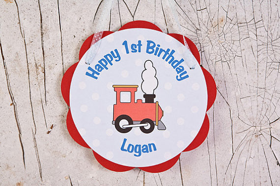 Train Door Sign Birthday Party - Red & Blue - Get The Party Started