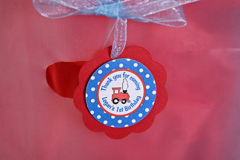 Train Favor Tags Birthday Party - Red & Blue - Get The Party Started